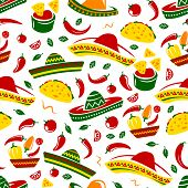 Mexican Food Seamless Pattern Background Of Tacos, Nachos And Burritos, Sombrero, Corn Tortilla And  poster