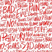 Vector Seamless Pattern With The Bad Words Pain, Dirt, Upset, Angry, Evil, Tears And Others. Handwri poster