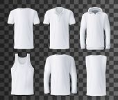 T-shirt Template With Front View Of White Men Shirts Mockup. Polo, Hoodie And Tank Top, Hooded Sweat poster