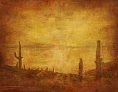image of wild west  - image of grunge background with wild west landscape - JPG