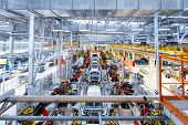 Automotive Production Line. Welding Car Body. Modern Car Assembly Plant poster
