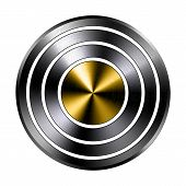 Metal Realistic Button Ring Template. Reflective Steel Round Tool. Metallic Texture Technical Object poster