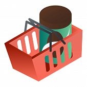 Full Red Shop Basket Icon. Isometric Of Full Red Shop Basket Vector Icon For Web Design Isolated On  poster