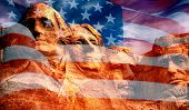 Mount Rushmore - Sculpture With Faces Of Four American Presidents On The United States Flag poster