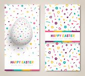 Happy Easter Vertical Banners Or Greeting Cards Set, White Egg With Funky Geometric Pattern, Confett poster