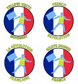 Yellow Vests Protester Silhouette Designs With French Flag. All The Objects Are In Different Layers  poster