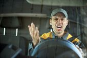 Angry driver shouting in his vehicle poster