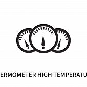 Thermometer High Temperature Icon Isolated On White Background. Thermometer High Temperature Icon Si poster