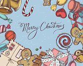 Vector Composition With Colored Bells, Jingles, Gingerbread Men, Gingerbread, Macaron, Lollipop, Bar poster