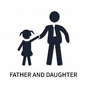 Father And Daughter Icon Isolated On White Background. Father And Daughter Icon Simple Sign. Father  poster