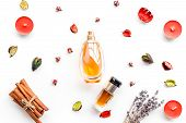 Perfume With Bright Fruity, Floral, Spicy Fragrance. Ingredients For Perfume. Bottle Of Perfume Near poster