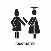 Graduated Icon Isolated On White Background. Graduated Icon Simple Sign. Graduated Icon Trendy And M poster