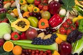 foto of healthy food  - Organic healthy vegetables and fruits - JPG