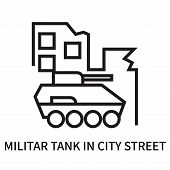 Militar Tank In City Street Icon Isolated On White Background. Militar Tank In City Street Icon Simp poster