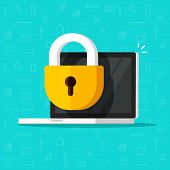 Laptop Computer Security Vector Icon, Flat Desktop Pc With Closed Lock, Concept Of Firewall Protecti poster