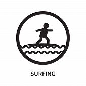 Surfing Icon Isolated On White Background. Surfing Icon Simple Sign. Surfing Icon Trendy And Modern  poster