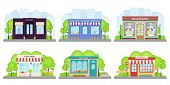 Shop, Store Front. Vector. Storefront Boutique, Cafe, Restaurant, Pharmacy, Bakery Store, Book Shop. poster