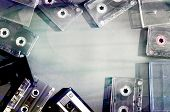 pic of magnetic tape  - Old fashioned audio tape cassettes background - JPG