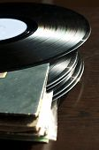 stock photo of lps  - LPs and covers.Natural light. Vertical image .