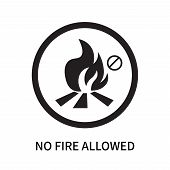No Fire Allowed Icon Isolated On White Background. No Fire Allowed Icon Simple Sign. No Fire Allowed poster