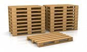 stock photo of wooden pallet  - two piles of pallets with one in front of them  - JPG