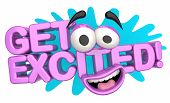 Get Excited Fun Cartoon Face Excitement 3d Illustration poster
