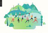 Marathon Race Group - Flat Modern Vector Concept Illustration Of Running Men And Women Wearing Sport poster