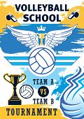 Volleyball Sport Training Or School Team Tournament Poster. Vector Volleyball Ball, Championship Vic poster