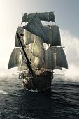 Front View Of A Pirate Ship Vessel Piercing Through The Fog Headed Toward The Camera . 3d Rendering poster