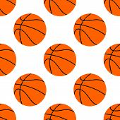 Orange Flat Basketball Ball, Vector Illustration Isolated On White Background. Seamless Pattern. Spo poster