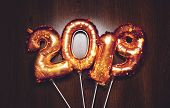 New Year 2019 Bright Metallic Gold Balloons Figures, Christmas, New Year Balloon With Glitter Stars  poster