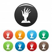 Zombie Hand Icon. Simple Illustration Of Zombie Hand Icon For Web Design Isolated On White Backgroun poster