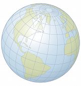 stock photo of longitude  - Simple graphic illustration of the globe showing latitude and longitude - JPG