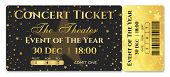 Admission Ticket Template. Vector Mockup Concert Ticket (tear-off) With Star Magical Black Backgroun poster