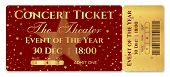 Admission Ticket Template. Vector Mockup Concert Ticket (tear-off) With Star Magical Red And Gold Ba poster