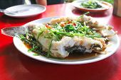 Steamed Fish Or Steamed Marbled Sleepy Gody Or Steamed Sand Gody poster