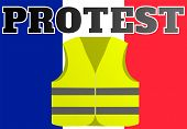 Protests Of Yellow Vests In France. Suitable For News On Gilets Jaunes. Illustration Of Events Takin poster