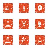 Army Medicine Icons Set. Grunge Set Of 9 Army Medicine Icons For Web Isolated On White Background poster