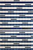 Geometric Texture Of Fragment Modern Iron-concrete Wall With Windows. Facade Of New Multi-storey Bui poster