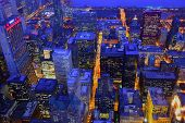 Aerial Twilight Cityscape Of Chicago, Illinois, Usa poster