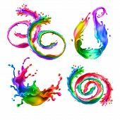 Vector Illustration With Bright Splashes, Rainbow Swirls With Drops. Mixed Liquid Splatters In Diffe poster