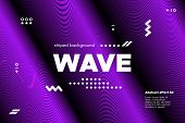 Movement Of Waves Concept. 3d Striped Poster With Ripple Effect. Purple Abstract Linear Background.  poster