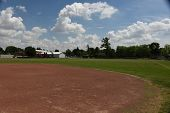 Softball And Baseball Playing Fields Grass And Dirt In A Park In Summer Under A Blue And Cloudy Sky poster