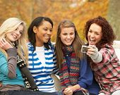 stock photo of teenage girl  - Group Of Four Teenage Girls Taking Picture With Camera Sitting On Bench In Autumn Park - JPG