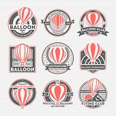 Balloon Vintage Isolated Label Set. Balloon Federation Symbol. Flying Club Logo. Hot Air Balloon Fes poster