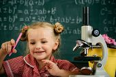 Schoolgirl Work With Laboratory Equipment On Chemistry Or Biology Class. Little Girl With Microscope poster