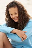 foto of 13 year old  - Portrait teenage girl outdoors - JPG