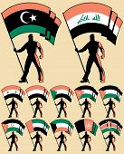 stock photo of north sudan  - Flag bearer in 12 versions, differing by the flag.