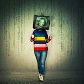 Casual Young Woman Showing Thumbs Up Like Feedback Gesture And Old Tv Instead Of Head. Television Ma poster