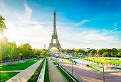 Eiffel Tower Famous Landmark From Trocadero At Sunrise, Paris, France, Retro Toned poster